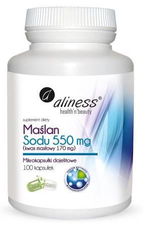Aliness Maślan Sodu 550 mg (Kwas masłowy) 100 kapsułek vege