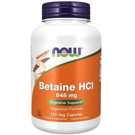Now Foods Betaina HCl 648 mg 120 kapsułek