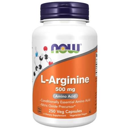 Now Foods L-Arginina 500 mg 250 kapsułek