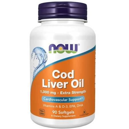 Now Foods Olej z wątroby Dorsza (Cod Liver Oil) Extra Strenght 1000 mg 90 kapsułek