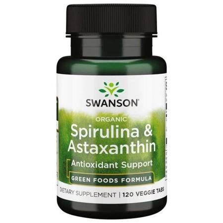 Swanson Organiczna Spirulina i Astaksantyna 120 tabletek