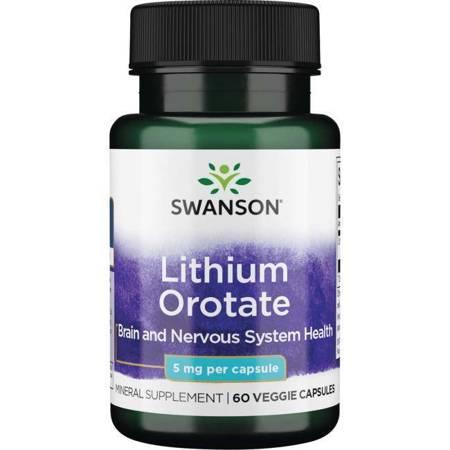 Swanson Orotan Litu 5 mg 60 kapsułek